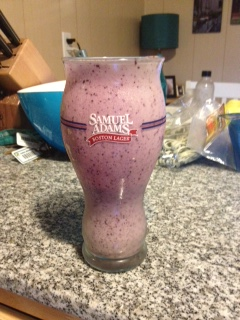 What does it say about me that I drink my morning smoothie out of a Sam Adams glass?