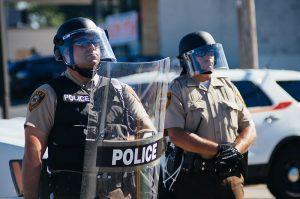 Police in riot gear at Ferguson