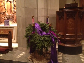The lovely Advent wreath from one of the churches where I sing.